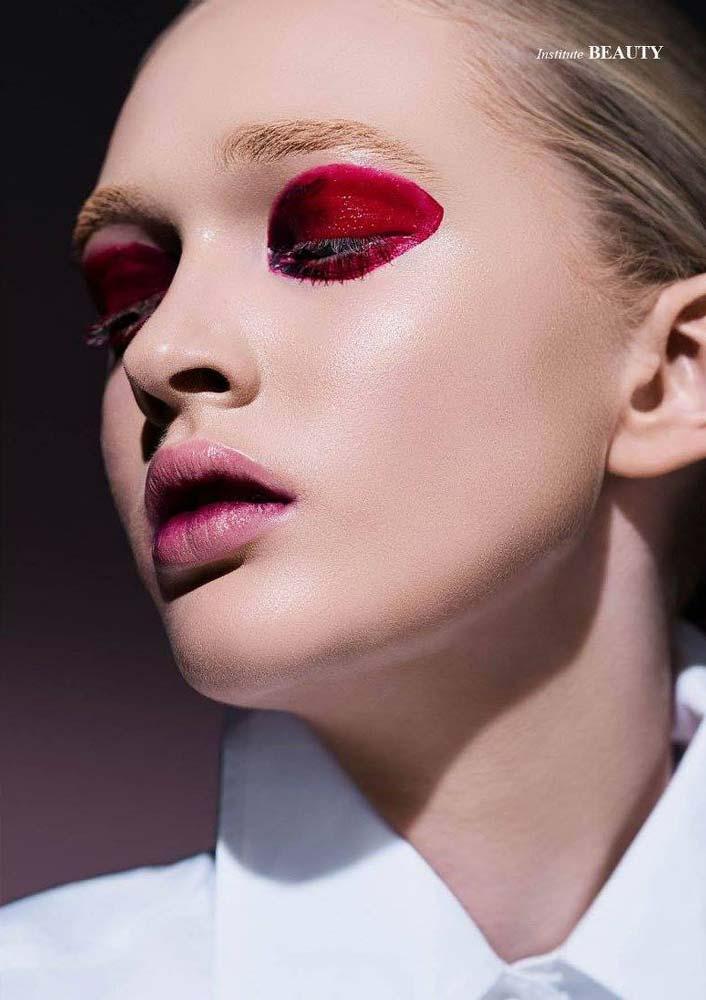 model-beauty-shoot-red-makeup-beautyful-portrait-visa-white-blouse-closed-eyes