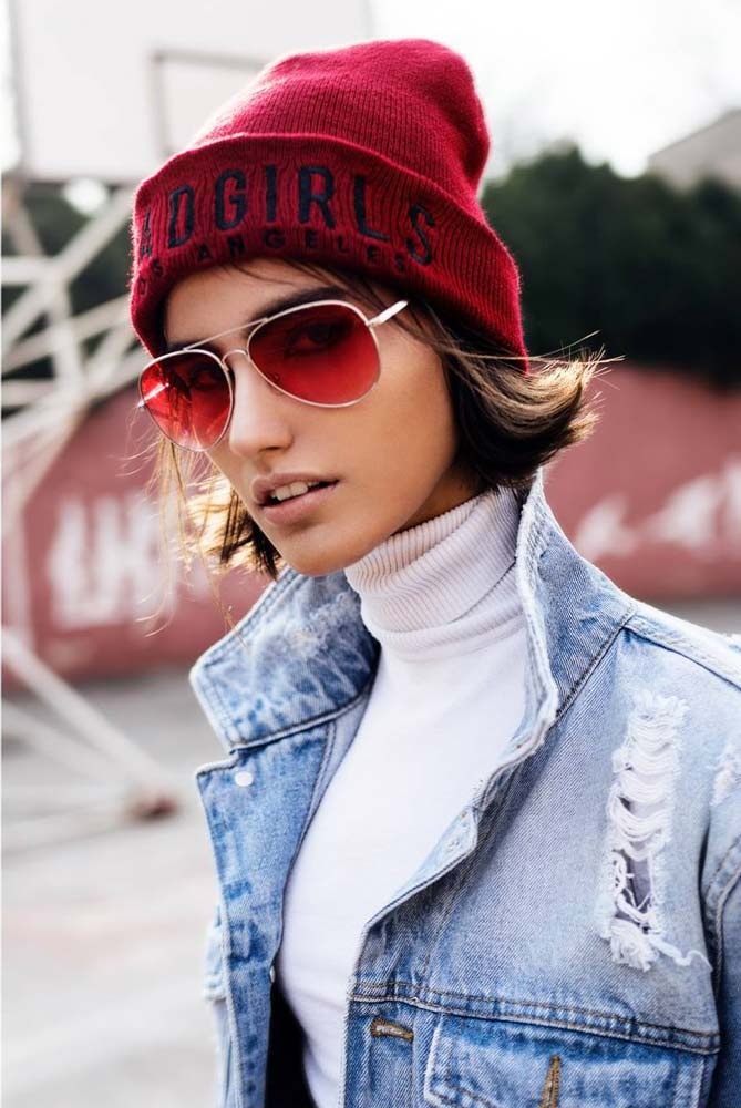 model-outdoor-jeans-red-beanie-sunglasses-portrait-brown-hair-beautiful